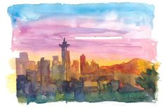"""Saatchi Art is pleased to offer the painting, """"Seattle Washington Skyline in Golden Sunset Mood,"""" by M Bleichner, available for purchase at $249 USD. Original Painting: Watercolor on Paper. Size is 7.9 H x 11.8 W x 0.4 in. Original Paintings For Sale, Original Artwork, Impressionism Art, Seattle Washington, Buy Art, Paper Art, Saatchi Art, Watercolor Paintings, Aspect Ratio"""