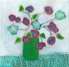 A selection of whimsical flowers paintings with added designs and patterns available for sale by Canadian Artist Sandrine Pelissier