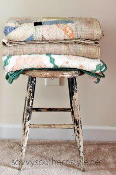 Chippy stool, vintage, peeling paint, farmhouse style