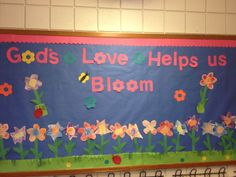 Christian spring bulletin board for preschool. Children did a shapes lesson while cutting and coloring the flower Religious Bulletin Boards, Easter Bulletin Boards, Christian Bulletin Boards, Preschool Bulletin Boards, Classroom Bulletin Boards, Bullentin Boards, Classroom Ideas, Classroom Door, Sunday School Classroom