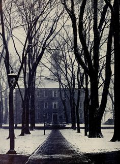 Athena yearbook, 1950. Ohio University's Cutler Hall on snowy College Green. :: Ohio University Archives