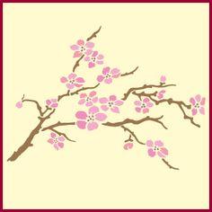 Cherry blossom stencil, cherry blossom stencils, japanese stencil designs, branch, flower