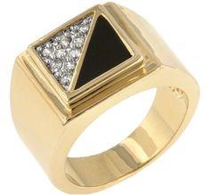 Henry Gemini Onyx Statement Men Ring  | 1ct | Cubic Zirconia | 18k Gold