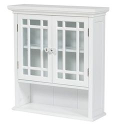 stylish wallmounted twodoor cabinet with shelf bathroom furniture white finish