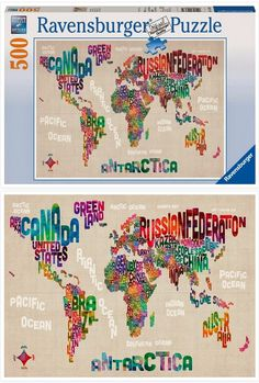 New World Map in Words Ravensburger Jigsaw Puzzle. Do you know what era the lettering is from?  It seems retro, somehow.