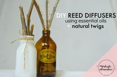 How to Make DIY Reed Diffusers using Essential Oils & twigs. Step-by-step tutorial walks you through baking and peeling twigs, upcycling bottles, types of oils needed to make the scents effective, and how to maintain it.