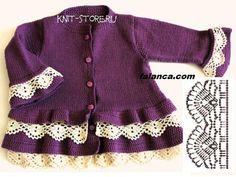 dantelli mor hirka tarifi   Falanca Kadın Portalı Knitted Baby Cardigan, Baby Pullover, Lace Cardigan, Knitting For Kids, Baby Knitting Patterns, Baby Patterns, Girls Sweaters, Baby Sweaters, Little Girl Skirts