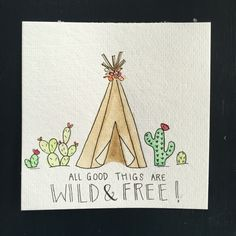 Watercolor teepee. Watercolor cactus. boho watercolor. wild and free