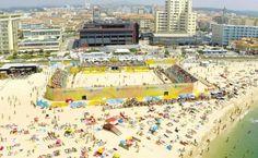 O Estádio de futebol de praia, na Praia da Baía, em Espinho