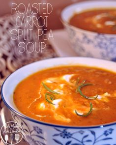 Roasting carrots added to yellow split pea makes a smoothing, flavorful soup for dinner.  With rosemary and thyme, add a little sour cream for additional creaminess.