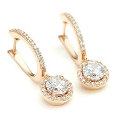 Rose Gold CZ Halo Round Drop Earrings | One by One