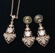 Vintage 1928 Co Rhinestone Deco Style Necklace Pierced Earring Set Goldtone #1928