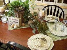 just some napkins as table runners..love the color of the green check