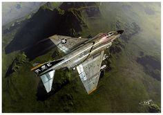 Mcdonnell-douglas F-4b Phantom Ii Jet Fighter United States Navy Vf-84 Jolly Rogers Vietnam Poster featuring the digital art Fear The Bones by Peter Van Stigt