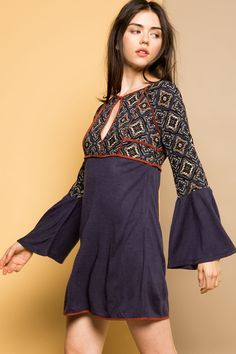THML | Women's boho dress with front keyhole and bell sleeves for fall.