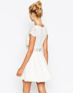 Image 2 - ASOS - Mini robe patineuse avec top court en dentelle Robe Blanche  Femme d8b422a8c
