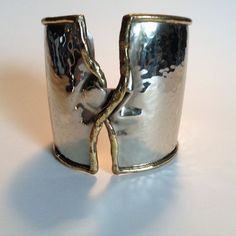 Modernist Twisted Cuff Bracelet Wide Handmade Mixed Metal Silver Gold Finishes    eBay