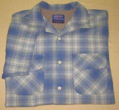 Men's PENDLETON Board S/S  Shirt  Sz M - Blue Plaid - 100% Virgin Wool #Pendleton #ButtonFront