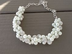 Chunky White Pearl and Rhinestone Wedding Necklace - Bridesmaid