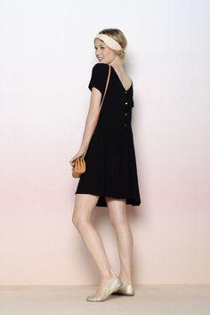 Robe Lapi noir 100% crêpe de viscose - robe Femme - Des Petits