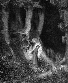 Dante astray in the Dusky Wood - Paul Gustave Dore