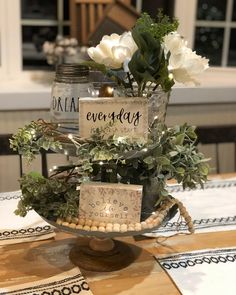 Oh my gosh guys! I didn't mean for this to happen, but I found the cutest tier tray (my at TJ Maxx today! I couldn't help myself! Tiered Stand, Centerpieces, Table Decorations, Country Farmhouse Decor, Farmhouse Chic, Shabby, Tray Decor, Spring Home, Seasonal Decor