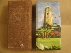 These painted bricks are works of art and they are unique gifts. Use them to decorate a table,shelf or mantle or use as a doorstop.The acrylic paintings cover all sides of the bricks except the bottom which has felt glued to it to protect surfaces.The second image shows the red brick