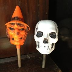 Vintage Halloween Noisemaker ~ Witch and Skull Blow Mold Rattles