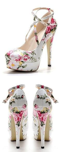 Floral Strappy Pumps //