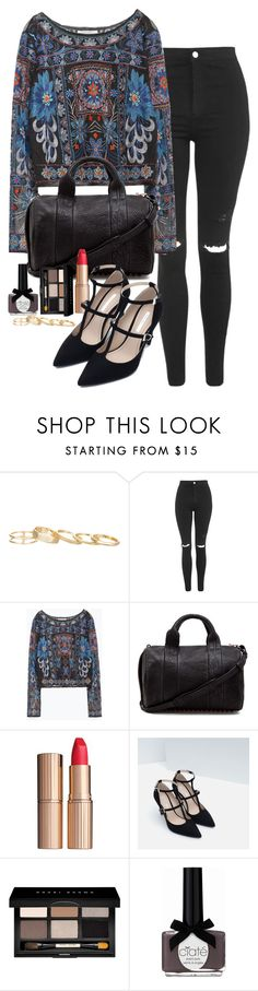 """""""Untitled #2324"""" by abigailtaylor ❤ liked on Polyvore featuring Kendra Scott, Topshop, Zara, Alexander Wang, Charlotte Tilbury, Bobbi Brown Cosmetics, Ciaté, women's clothing, women and female"""
