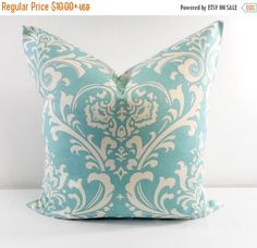 On Sale Village Blue Pillow Cover. Damask. by TwistedBobbinDesigns