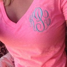 Monogram Short Sleeve Shirt - Hot Pink. Great gift for teams, bridesmaids, teachers, and more!