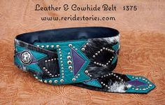 Cowhide Belt Turquoise & Purple by ReRideStories on Etsy