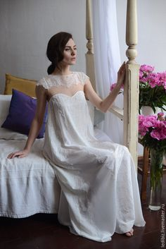 6b995aecbe Long Silk Bridal Nightgown With Lace Bridal Lingerie