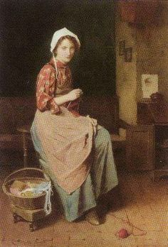 *A Young Girl Knitting  Carleton Alfred Smith  1853-1946*
