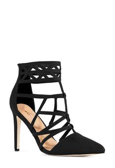 There's nothing blurry about these lines! Marina features a pointed, single sole silhouette and geometric caging detail with elastic on the straps for better fit and comfort. l JustFab