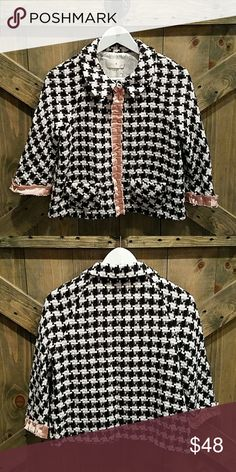 Helen Wang Blazer Adorable black and white plaid Blazer. Three snaps in front. Pink trim down seams in front and at end of sleeves. Two pockets and collar. SIZE 8 Helen Wang Jackets & Coats Blazers