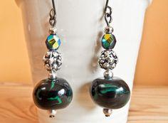 Black and Green Ornamented Earrings Drop Earrings, Green, Handmade, Black, Jewelry, Fashion, Moda, Hand Made, Jewlery