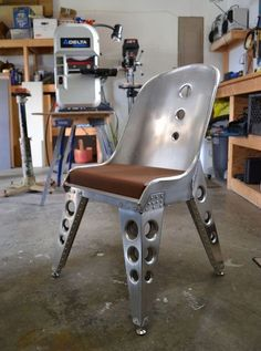 Office Chair Without Wheels Info: 8090878138 Industrial Style Furniture, Industrial Chair, Metal Furniture, Unique Furniture, Custom Furniture, Industrial Design, Furniture Design, Chair Design, Aviation Furniture