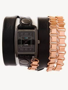 Gunmetal Square Case. Black simple strap with gunmetal rivets and buckle, Rose Gold Egyptian Chain.