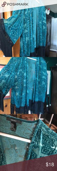 Burnout velvet turquoise kimono Gorgeous turquoise burn out velvet with black fringe kimono Forever 21 Other