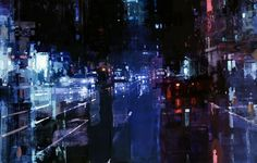 Jeremy Mann (previously here and here) paints cityscapes set during the low-lit moments of the early morning or evening, just when natural light has begun to creep in or fade from a city's car-lined streets. Using oil paints, Mann applies and wipes away areas of the canvas to recreate these hazy env