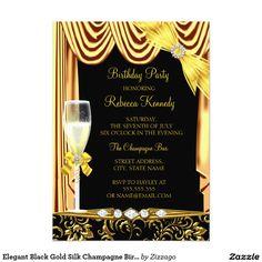 Shop Elegant Black Gold Silk Champagne Birthday Invitation created by Zizzago.