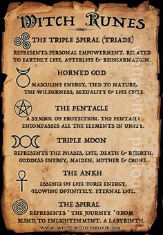 witch runes, meaning, symbols, ankh, spiral, triple moon,pentacle,horned god, triple spiral, triade, magic, pagan, mystic, wicca, metaphysical, white witch parlour, www.whitewitchparlour.com