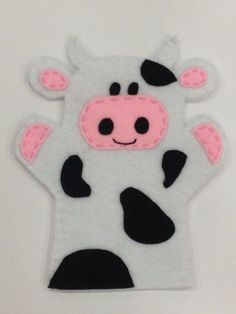 Cow Hand Puppet on Etsy, … Felt Puppets, Puppets For Kids, Felt Finger Puppets, Hand Puppets, Sewing For Kids, Diy For Kids, Crafts For Kids, Baby Crafts, Felt Crafts