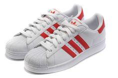 adidas Originals Superstar II White Red Shelltoe Mens Low Casual Shoes