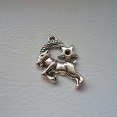 Breloque capricorne signe zodiaque metal argente