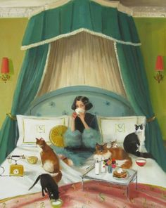 'Mademoiselle Mink Breakfasts In Bed' By Janet Hill 2013