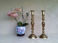 Vintage Huge BRASS 20 Tall Candle Holders. by RetroStampedRare