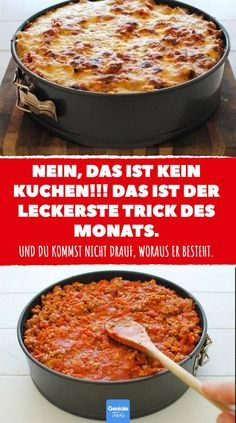 Das ist der leckerste Trick des Monats und du kommst nicht drauf, woraus er besteht. #pastakuchen #pasta #kuchen #deftig #rezept #nudelrezept #pastarezept #mittag #abendessen #kochen